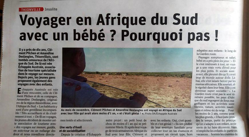 Republicain Lorrain - Voyager en Afrique du Sud avec un bébé ? Pourquoi pas !