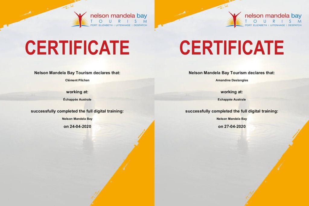 certificat Nelson Mandela Bay Tourisme